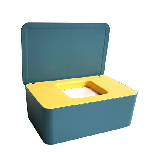 Caja dispensadora de toallitas húmedas, dispensador de toallitas, caja de almacenamiento de máscaras a prueba de contaminación, con tapa y caja de pañuelos antipolvo con gran capacidad para el hogar