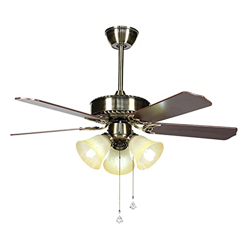 Ventiladores de techo retro con forma de vidrio de forma de flor 42'65W vintage ventiladores de techo con control remoto Hojas de madera de madera con 3 soportes de lámpara para dormitorio de cocina