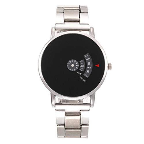 Tocadiscos con Correa De Acero Reloj Digital De Personalidad para Hombre Reloj...