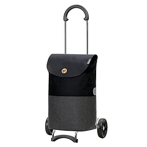 Andersen Carro de Compra Scala Acero con Rueda Ø 15 cm y 36 litros Bolsa Ebba Negro
