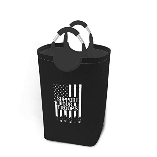 N\A Support Our Troops Laundry Hamper Basket Folding Washing Bin Waterproof Bathroom Dirty Clothes Organizer with Handles for Easy Carry