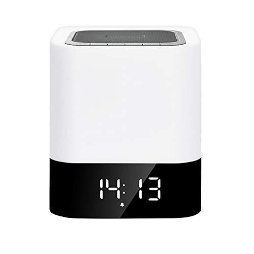 Veilleuse -ABS/PP, Connexion Bluetooth, Atténuation tactile, Sonnerie du réveil, Affichage de l'horloge, Veilleuse de chargement multifonctionnelle intelligente sans fil, Adaptée à la famille, Chamb