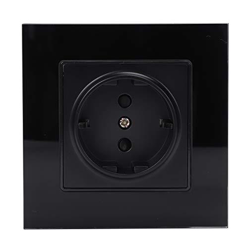 TOOGOO Negro Estándar de La Ue Enchufe de Potencia, Panel de Vidrio de Cristal Blanco, Ac 110~250V 16A Enchufe de Potencia de Pared