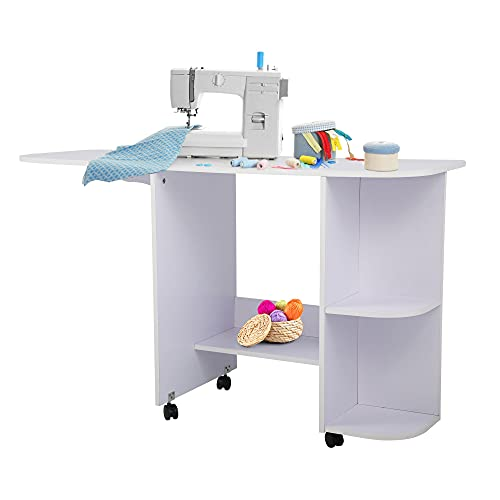 JAXSUNNY Folding Sewing Table w/ 3 Storage Shelves, Space Saving Table of Multiple Uses, Rolling Sewing Machine Table Craft Station for Small Spaces, on 4 Casters, White