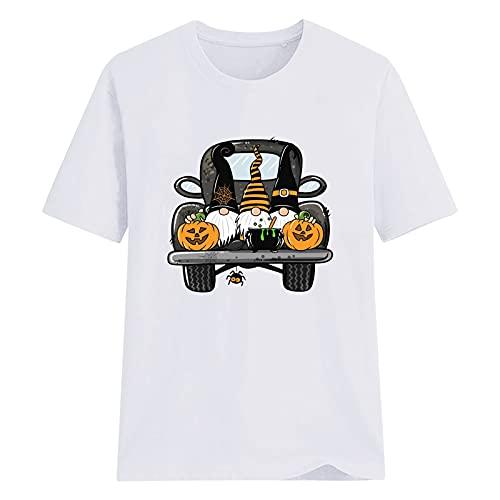 XUNN Maglietta da donna a maniche corte con stampa nani a maniche corte, A-bianco, S