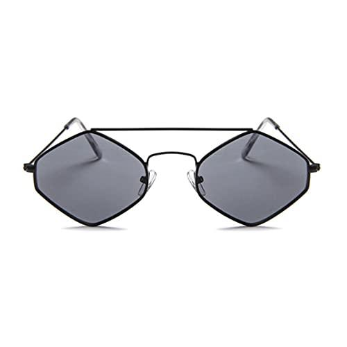 Zhou-YuXiang Gafas de Sol de Metal hexagonales Retro Chao REN Gafas de Sol de Diamante con Montura pequeña Gafas de Sol de Doble Haz con Lentes de océano