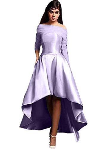Yuki Isabelle Women's Long Sleeve Off Shoulder Prom Dresses High Low Satin Wedding Evening Dress Lavender