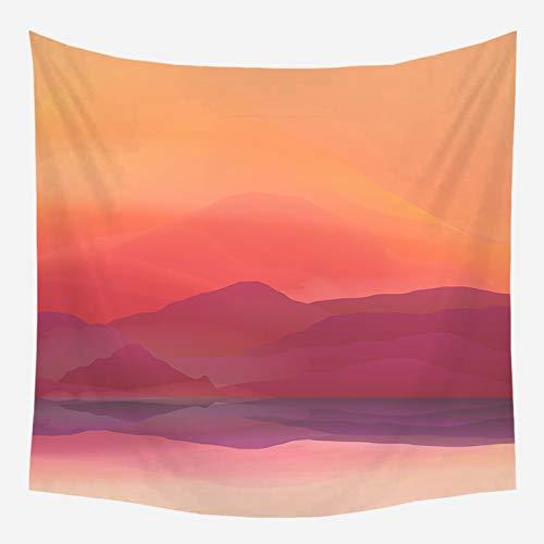 KHKJ Puesta de Sol Paisaje Indio Tapiz Colgante de Pared de Tela de poliéster Manta de Arte de Pared para Sala de Estar decoración de Dormitorio A10 95x73cm