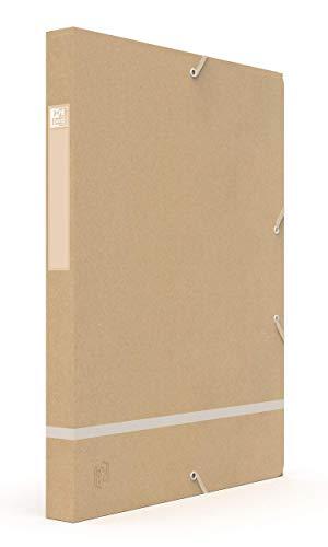 Oxford Touareg - Caja de clasificación, 24 x 32 cm, lomo 25 mm, con goma elástica, cubierta de tarjeta reciclada, color kraft y blanco esmerilado