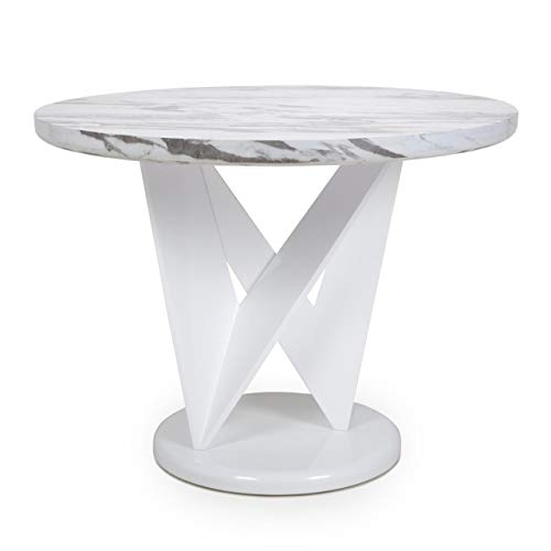 Shankar Saturn Round Marble Effect Top Dining Table - High Gloss Grey and White