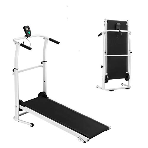 Folding Compact Manual Treadmill Machine with LED Display Screen Calorie Monitor Fan Incline Adjustment High Precision Running Belt Cardio Fitness Exercise Fat Burn Best for Home Gym Use Space Saving