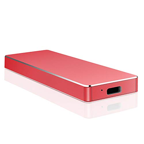 Disco Duro Externo 1 TB, Disco Duro Externo USB3.1 Type C para PC, Mac, Xbox One, MacBook, Desktop, Laptop, Chromebook.(1TB,Rojo)