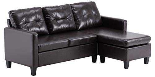 Muebles PU Convertible Seccional Combinación Sofá de esquina para sala de estar Apartamento Fácil montaje Sofá Cama (marrón oscuro)