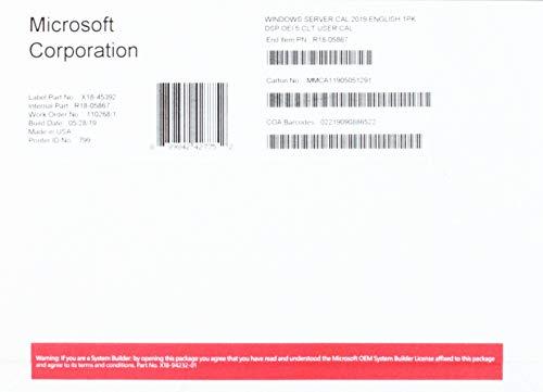 MS 1x Windows Server CAL 2019 Englisch 1pk DSP OEI 5 Clt User CAL