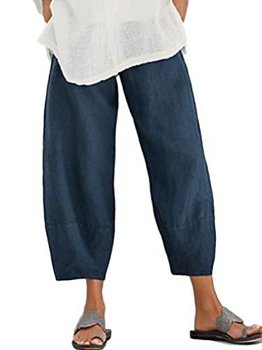 Tomwell Pantacourt Femme Ete Causal Taille Haute Taille élastique Lin Ample Pantalon Fluide 7/8 Longueur Pants Bleu XX-Large