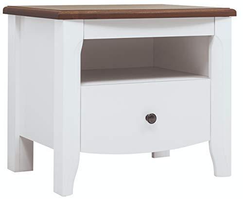 Mesa auxiliar para dormitorio, sala de estar, pasillo Kalio con cajón y compartimento abierto, color blanco, brillante, 58,5 x 50,5 x 42,5 cm