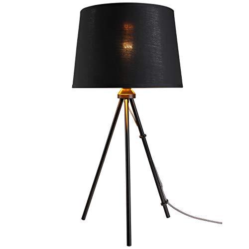 HOMCOM Tischleuchte Tischlampe E27-Fassung Nachttischlampe 40 W Metall Schwarz 30 x 30 x 60 cm