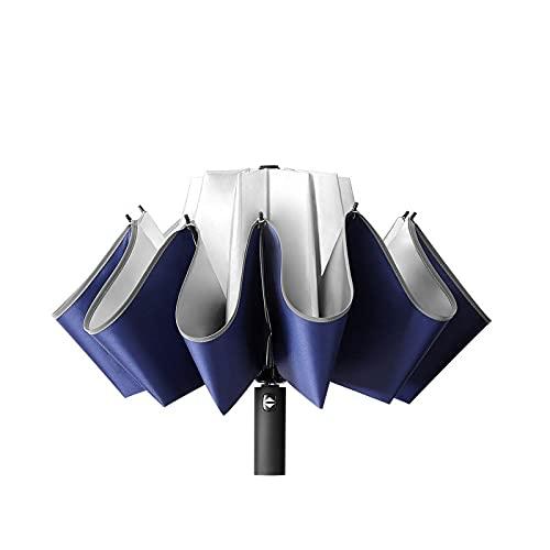 Oqqo Paraguas de 10 Varillas Resistente al Viento Resistente a la Lluvia Tres sombrillas automáticas Plegables Golf Reflectante Anti-UV Apertura automática Cierre Antideslizante Bolsillo Viaje Navy