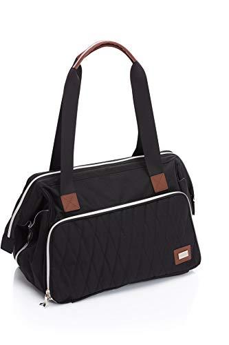 Fillikid Wickeltasche Exclusiv/Große Windeltasche mit Zubehör/Handtasche abwischbar/Schnullerbag mit Wickelauflage & Kinderwagen-Haken, Design:schwarz