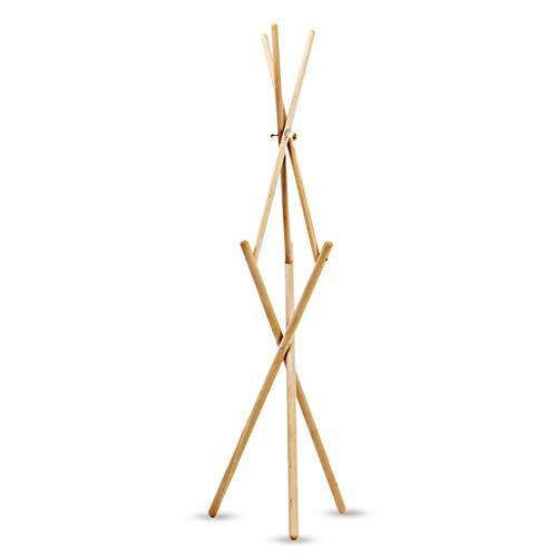 QIFFIY Perchero de madera con 9 ganchos, soporte de madera para abrigos, soporte para abrigos de entrada, para sombrero, ropa, bufandas, perchero de madera (color: A)