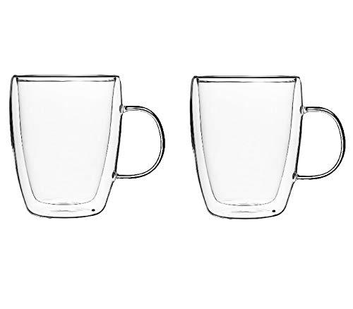 KADAX doppelwandige Glas Tasse, Glas mit Griff, 270ml, Trinkglas für Saft, Tee, Kaffee, Drink, Wasser, Eistee, Cappuccino, Universalglas, Teeglas, hochwertige Qualität (2)
