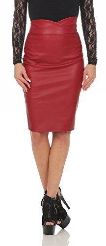 Fashion4Young 11103 dames rok minirok knielanger rok imitatieleer Skirt Slimline Bodycon
