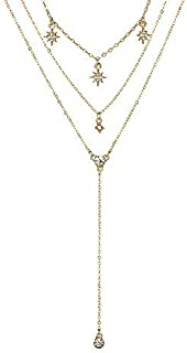 Women Sideways Necklace,Haluoo Vintage Leather Multi-Layered Necklace Women Retro Feather Tassel Pendant Necklace Sweater Chain Pendant Necklace Stretch Rhinestone Feather Jewelry