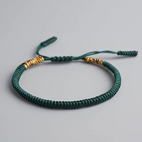 Handmade Knots Green Rope Bracelet Tibetan Buddhist Lucky Charm Tibetan Bracelets & Bangles For Women Men