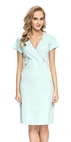DN de Nightwear Mujer premamá Camisón/Lactancia Camisa de noche de 100% algodón Grey/Pink L