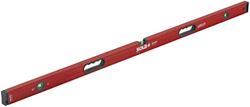 SOLA LSB59M Big Red Aluminum Magnetic Box Beam Level with 3 60% Magnified Vials, 59-Inch