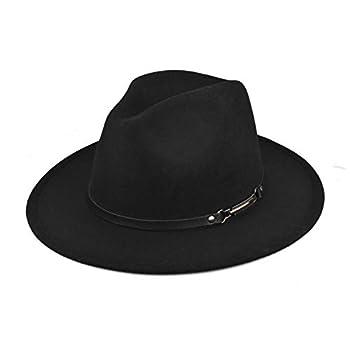 EINSKEY Women Felt Fedora Hat Wide Brim Panama Hat with Belt Buckle Trilby Hat Black