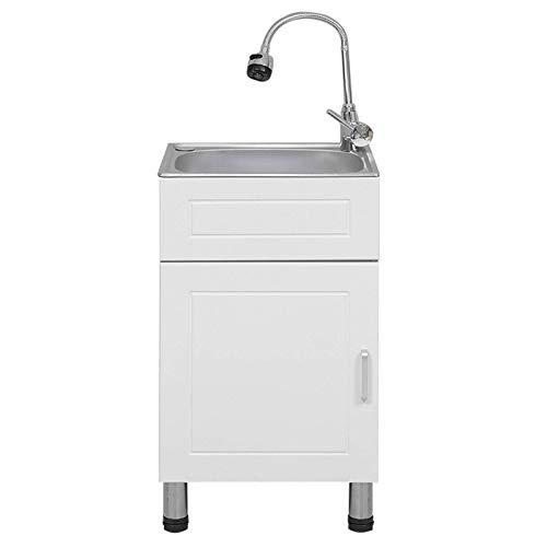 GAXQFEI Uppgraderad diskbänk fristående verktyg handfat tvättho tvättskåp tvättställ med varm och kall kran för balkong garage badrum, lätt att montera, 40 x 35 cm