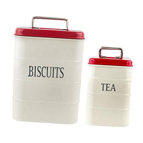 Tubayia 2 latas de metal para almacenar té, café, galletas, dulces (beige)
