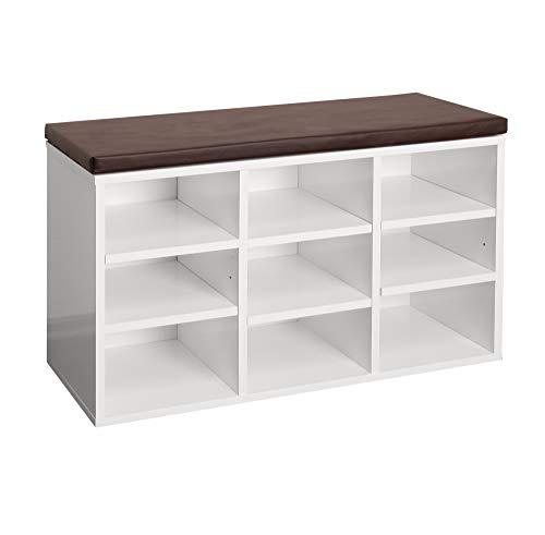 RICOO WM035-W-B, Schuhregal, 79x49x30 cm, Holz Weiss, Sitzbank mit Stauraum, Schuhschrank mit Sitzkissen, Schuhbank für den Flur, Schuhablage