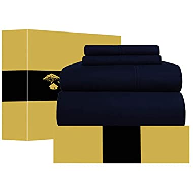 Urban Hut Egyptian Cotton Sheets Set (4 Piece) 1000 Thread Count - Bedspread Deep Pocket Premium Bedding Set, Luxury Bed Sheets for Hotel Collection Soft Sateen Weave (Queen, Navy Blue)