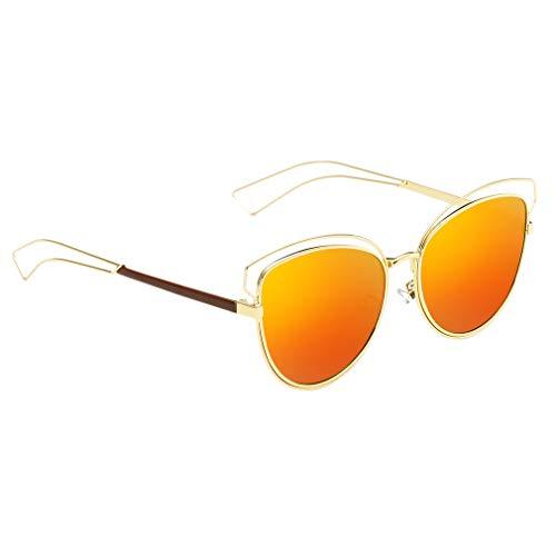 WEQQ Gafas de Sol Vintage para Mujer, Gafas de Sol de Ojo de Gato, Gafas de Sol con protección Solar (Dorado y Rojo)