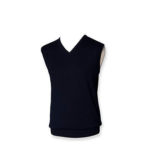 Henbury Pull léger col en V pour homme - Bleu - Large