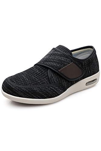 DENACARE Men's Wide Width Shoes with Adjustable Closure Lightweight for Diabetic Edema Plantar Fasciitis Bunions Arthritis Swollen Feet Black