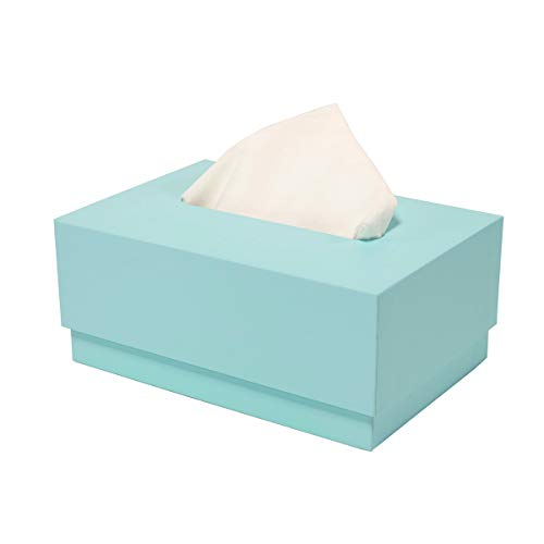 VPACK Tissue Box Cover/Holder Square Paper Facial Tissue Box Cover Holder for Vanity Countertops, Bedroom Dressers, Night Stands, Desks and Tables(Water Blue)