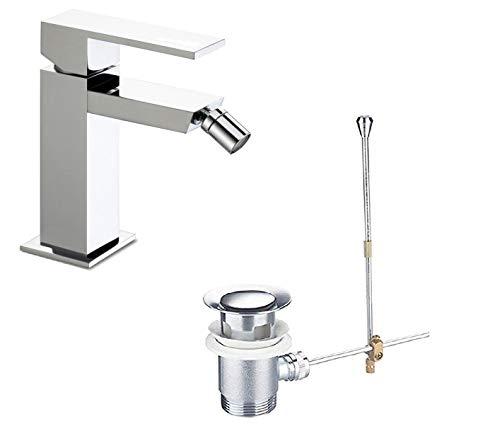 takestop® wastafelarmatuur, Quadrato PiLETTe, ESY_69023, Florenz, badkamer, wastafel met dubbel gat met flexibele omloop.