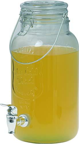 Clic-And-Get Getränkespender mit Hahn 4L 5L 8L Glas Enjoy Zapfhahn Wasserspender Limonadenspender Saftspender Dispenser Trinkspender (5 L Spender)
