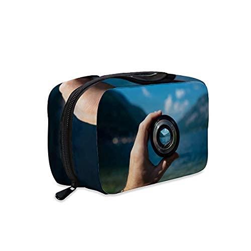 Bolsa de maquillaje para lente de cámara de enfoque, bolsa de maquillaje, bolsa con cremallera, bolsa de aseo de viaje, accesorios de cosméticos, bolso organizador grande portátil para mujeres y niñas
