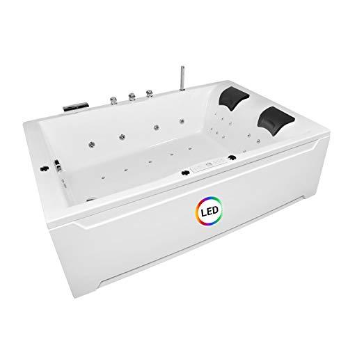Whirlpool Badewanne Hamburg 180x120cm Modell: Lux XL+Armatur+ 30xEdelstahldüsen Badewanne mit Bausatz Whirlpool Badewannen Zubehör Wellness Indoor Whirlpool für 2 Personen