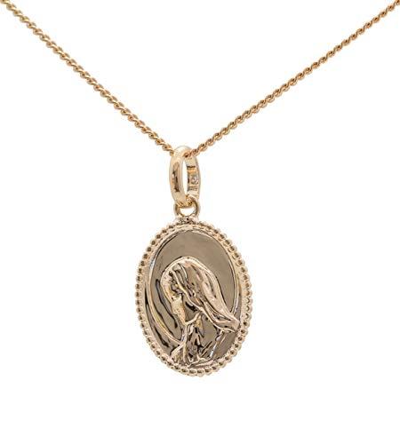 Medalla Chapado en oro Virgen María con grabado nombre o fecha bautizo o nacimiento Kit incluido y cadena de 40cm para mujer y niños