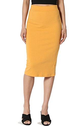 TheMogan Junior's Stretch Cotton Elastic High Waist Pencil Midi Skirt Mustard M