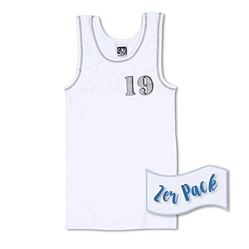 Sweety 2er Set Jungen-Unterhemden ohne Arm Gr. 128 I Achsel-Shirt für Jungen aus 100% Baumwolle I Unterwäsche für Kinder mit Motiv I Unterhemden Kinder I Jungen-Unterwäsche I Weiß