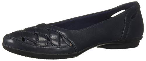Clarks Women's Gracelin Maze Loafer Flat, Navy Leather, 075 M US