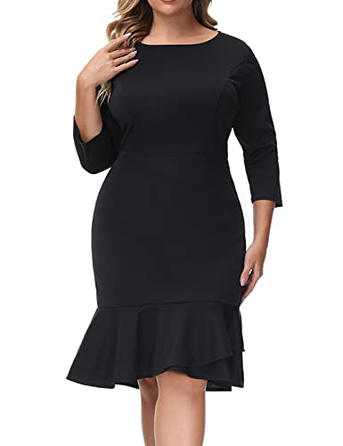 Hanna Nikole Womens Black Dresses Plus Size Tea Party Dating Fancy 3/4 Long Sleeves Dress Size 20