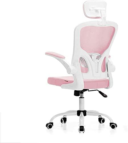 HZYDD Bürostuhl, hochrücken ergonomischer Mesh-Schreibtischstuhl mit Flip-up-Armlehne und Verstellbarer Kopfstütze, Exekutiv-Schwenkstühle-Pink 61x33x57cm (Color : Pink, Size : 61x33x57cm)