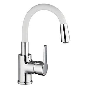 EISL NI075FLCRW FLEXO – Grifo monomando para lavabo (caño flexible, función de ahorro de agua), color cromo y blanco